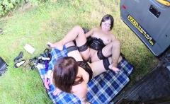 Busty lesbian Milf toying in female cab