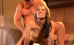 Brunette is happy to please his hard dick