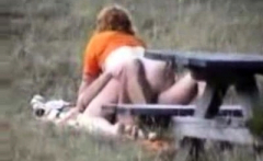Blonde milf caught fucking in the park
