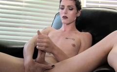 Femboy beauty solo tugging hard cock