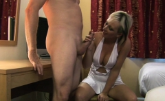 Cocksucking MILF gags on cock during CFNM