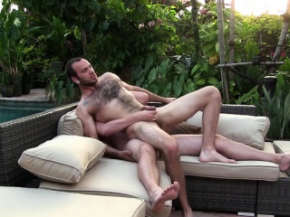 Hairy gay outdoor with cum swap