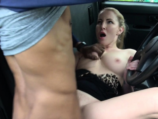 Female Fake Taxi Back seat blowjob from busty blonde
