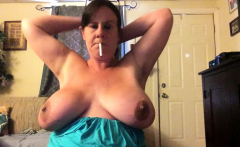 Shaved BBW with big boobs rides hard cock