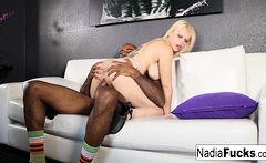 Sexy Nadia pays her mover with some interracial fucking