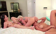 Latina Alina and stepmom Mercedes lick her new wife Christie