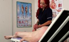 CFNM nurse massages clients swollen cock