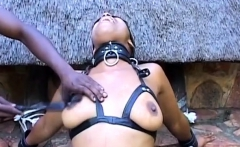 Black Amateur Tied Up And Fucked With Dildo