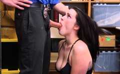 Cutie brunette shoplifter chick caught and gets fucked