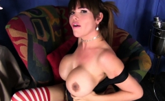 Busty amateur trap jerking her big cock