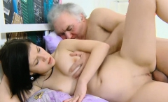 Tiny kinky young sweetie gets her pussy slammed by old guy