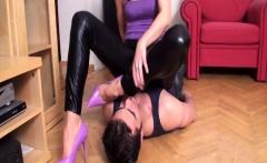 Femdom Ladies choking slaves