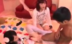 Japanese AV teen in school uniform has hardcore group sex