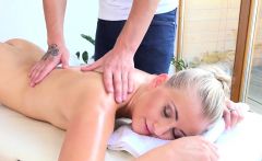 Angel is playing with her cunt during fleshly oil massage
