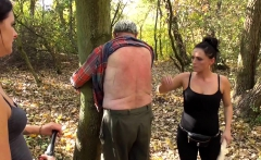 Mistress Ronja and Lady Lucy dominate slave outdoor