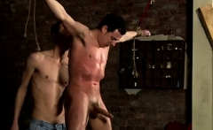 Bi male bondage gay Big dicked fellow Jake is prepared and n