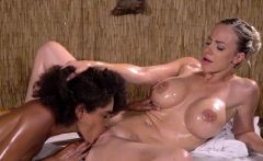Massage Rooms Wet slippery and oiled interracial lesbians