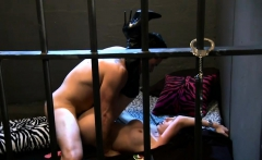 Spicy hot women foursome in the jailcell with horny men