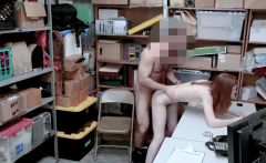 Shoplifter Pepper Hart struggles handling dudes big cock