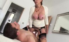 Mom in sexy lingerie seduce her son and then fuck with him