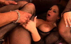 Fishnet FFM threesome sex