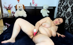 Brunette Bbw With Hairy Bush Pussy Uses Dildo