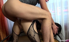 German Brother Caught Skinny Step-Sister and help with Fuck