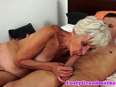 Hairy European Granny Dickriding And Sucking