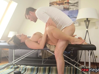 Masseuse ass fingers his sexy glam client