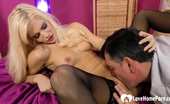 Blonde chick in stockings gets rammed hard