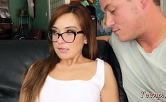 Sultry redhead barely legal Kaylee Haze begs for tool