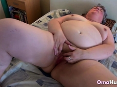Granny Enjoys Lesbian Sex With Lots Of Dildos