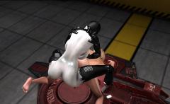Area 51. Super fuck system. Sci-Fi female android fucks girl