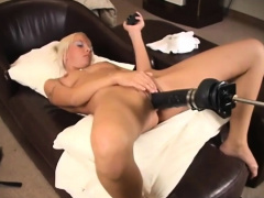 Blondie Masturbates On Her Leather Couch