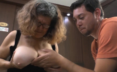 Pablo squirts his hot cum all over oldie Brenda's ass cheeks
