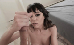 Kinky Milf gags on my cock and gives footjob