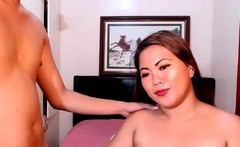 Guy licks and fucks Asian bbw on cam