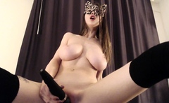 Sabrina hot busty brunette babe toying pussy and having fun
