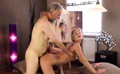 OLD4K. Young college girl comes to old teachers house