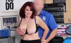 Redhead milf in underwear gets fucked