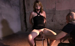 Ballgag blonde sub pussytoyed by her maledom