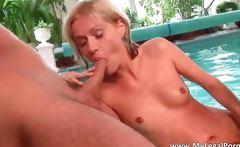 Nasty blonde Elise gets jizzed after