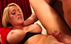 Naughty Busty Blonde Rides Huge Dick