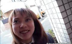 Cute asian schoolgirl sucking cock