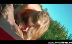 Cute face blonde babe blows penis