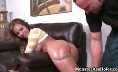 Hot brunette slut gets her tight
