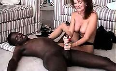 Sweet mature amateur housewife interracial cuckold handjob