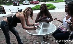 Teen guys playing funny games outdoor for hard cash