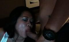 Hot oriental babe sucks stiff boner