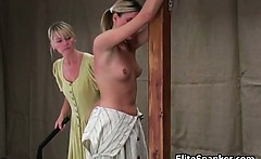 Nasty blond gets whip over her back